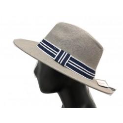 Flat border hat with navy/white stripes pattern ribbon