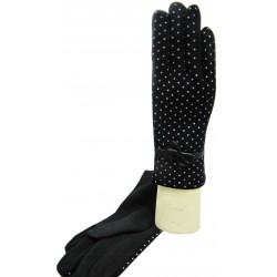 Small dots gloves with bow tie