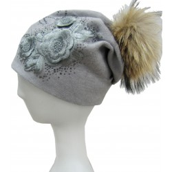 EMBROIDERED FLOWER HAT WITH POMPOM