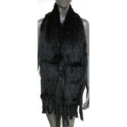 RABBIT FUR STOLE WITH FRINGES