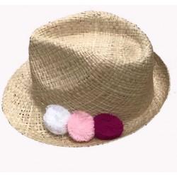 Chapeau borsalino à pompon