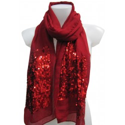 Plain scarf with sequins
